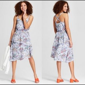 A New Day Floral Asymmetrical Ruffle Dress Small